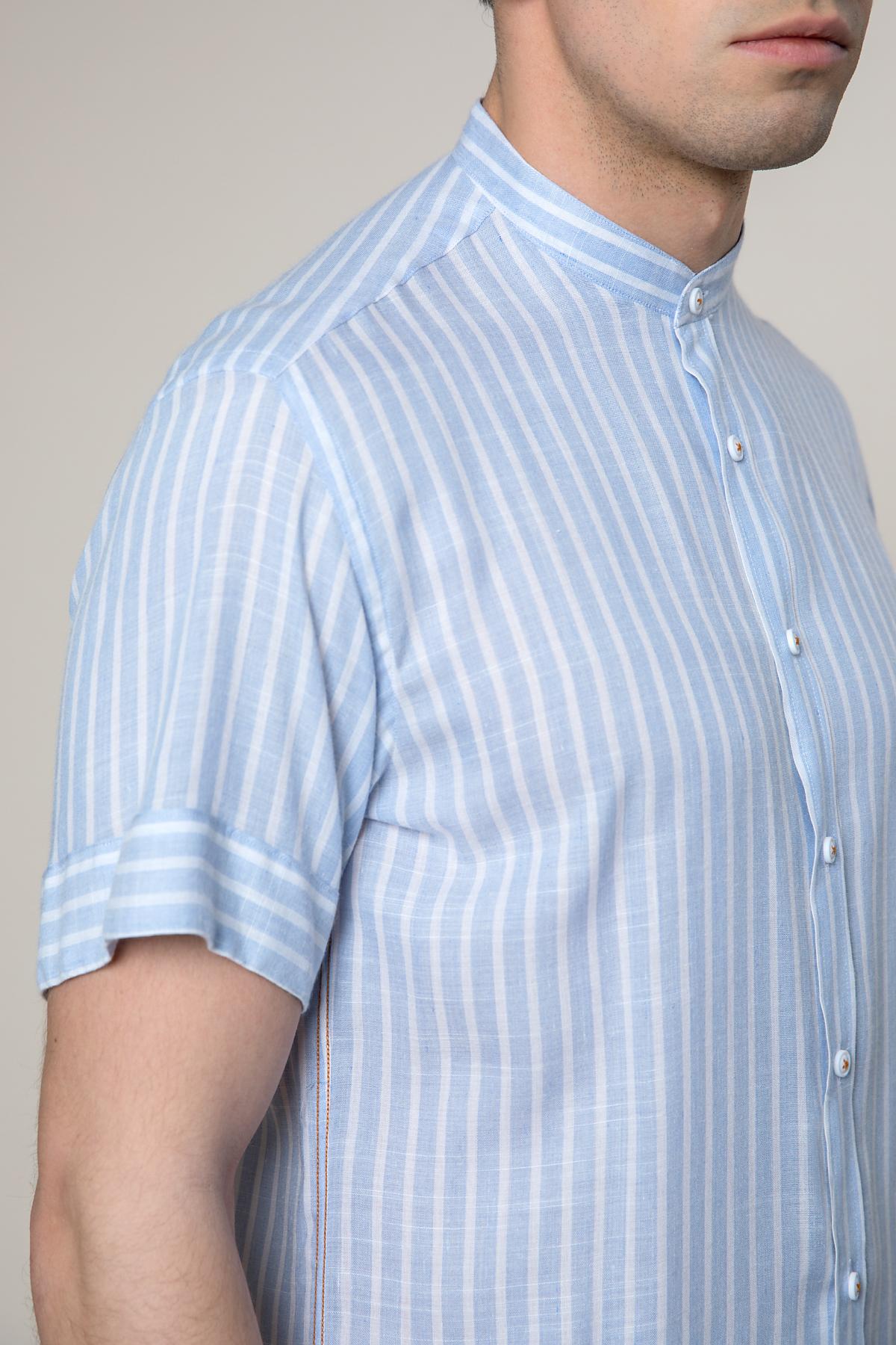 """Рубашка """"короткий рукав"""" в полоску голубого  цвета  Vaismann 19101"""