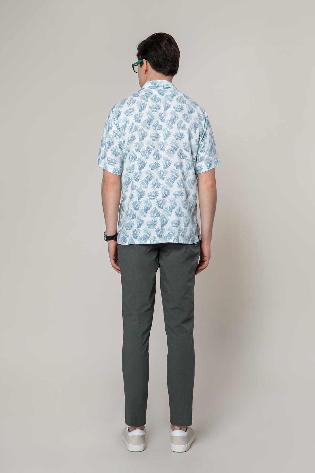 """Рубашка """"короткий рукав"""" из принтованной ткани в рисунок Vaismann 19126"""