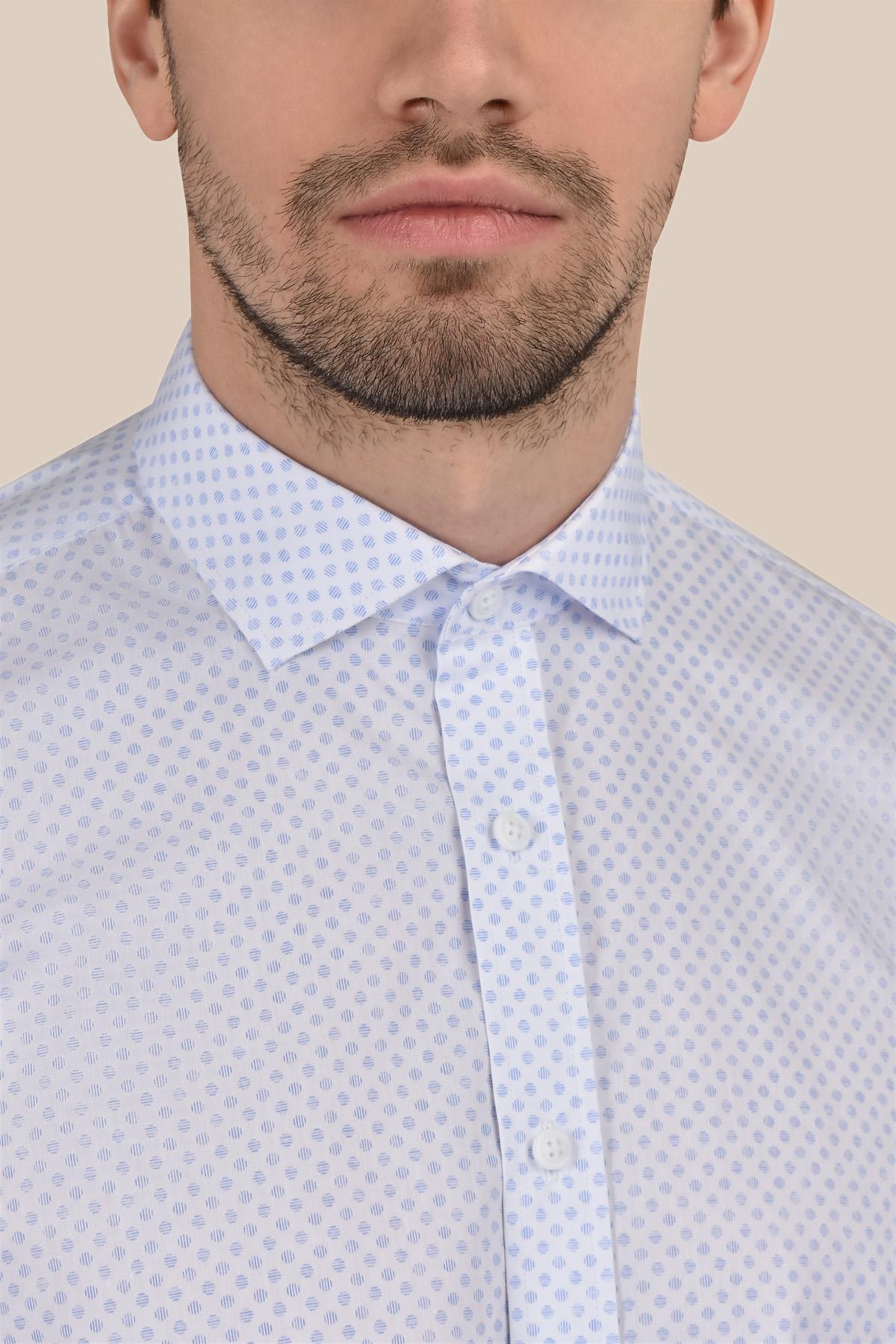 Рубашка в мелкий принт белого  цвета Vaismann 20107
