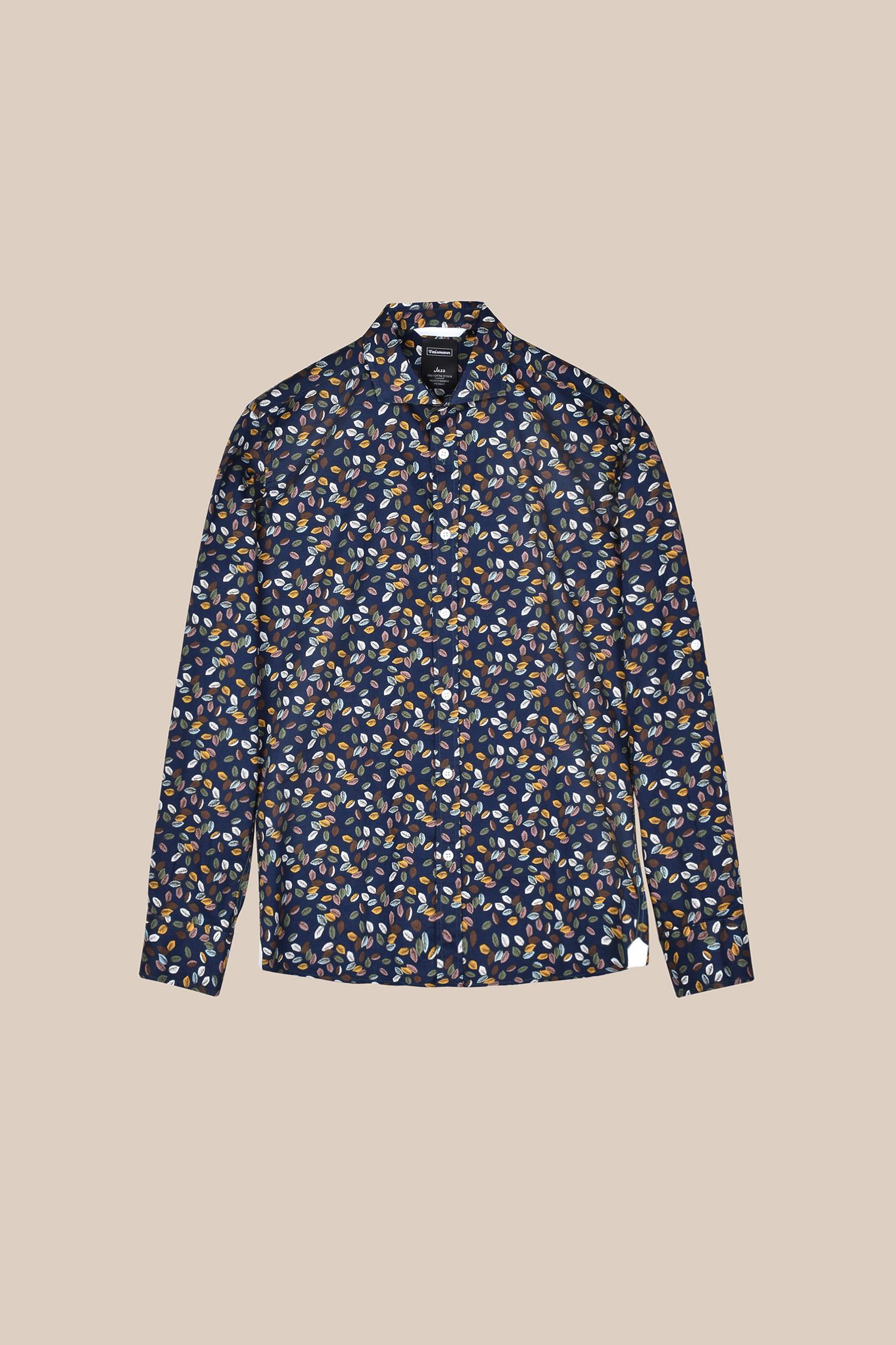 Рубашка синего цвета в  яркий принт Vaismann 20118