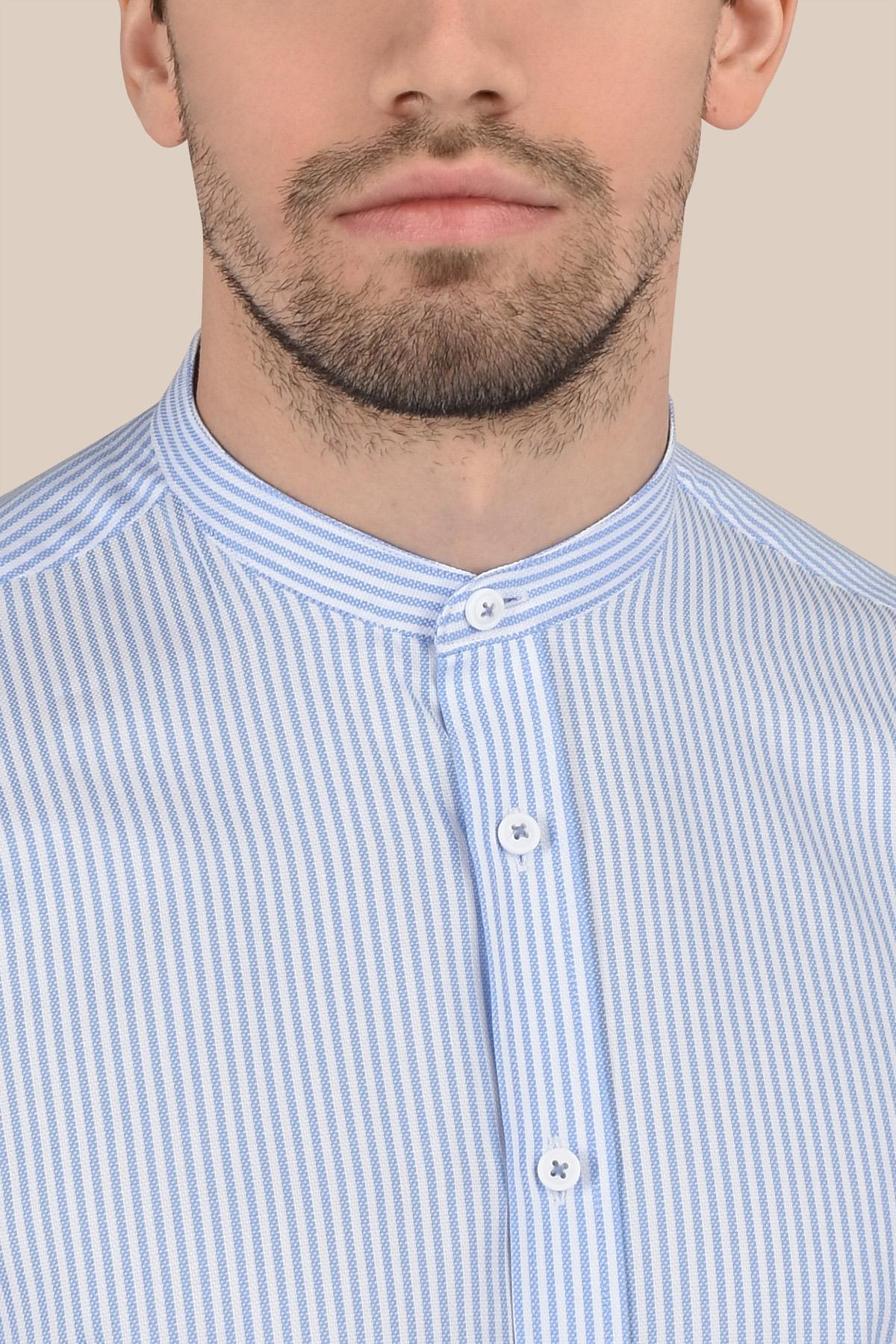 Рубашка  белого цвета в голубую полоску  Vaismann 20143