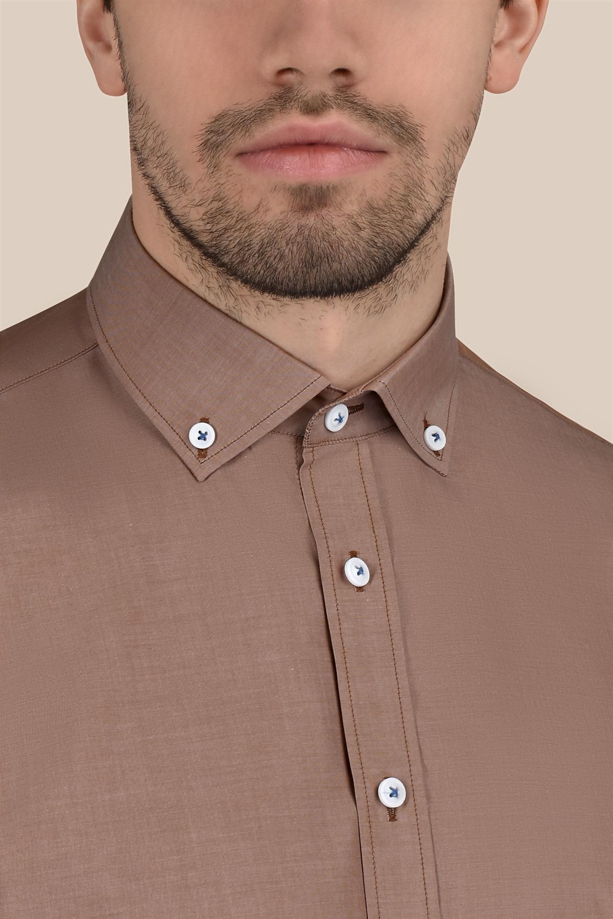 Рубашка коричневого цвета  принт Vaismann 20124