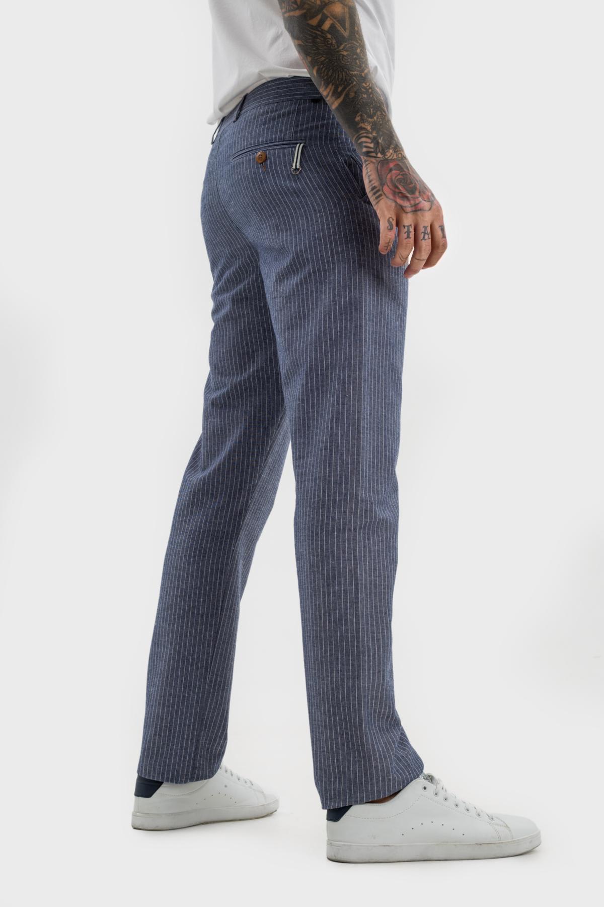 Зауженные брюки «chinos»,  из  хлопка в полоску.  Vaismann  21506