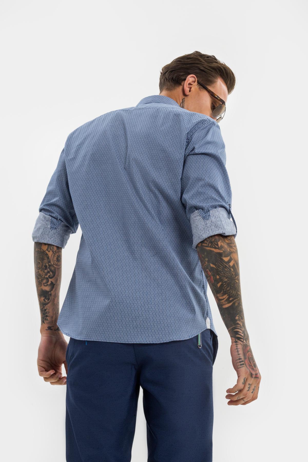 Рубашка в мелкий синий рисунок  Vaismann 21116