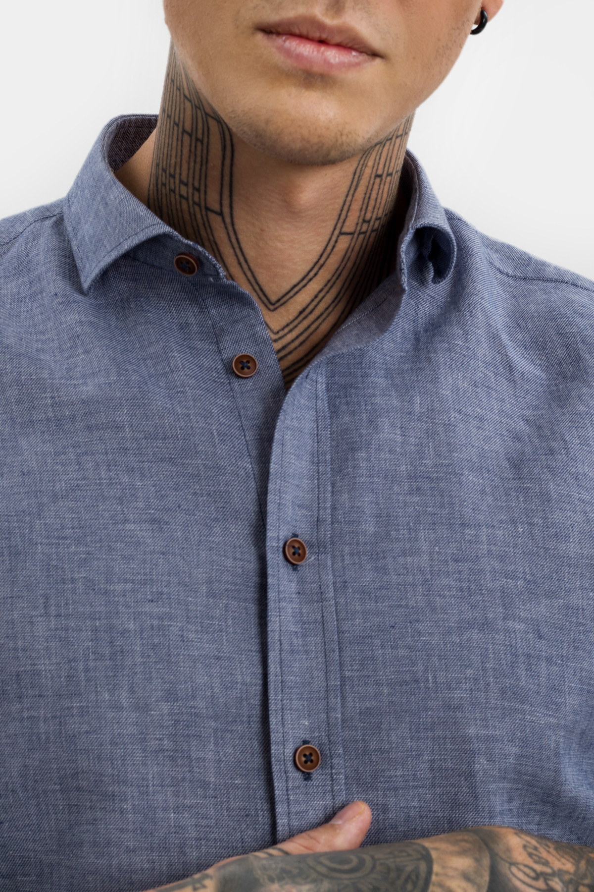 Рубашка цвета деним Vaismann 21114