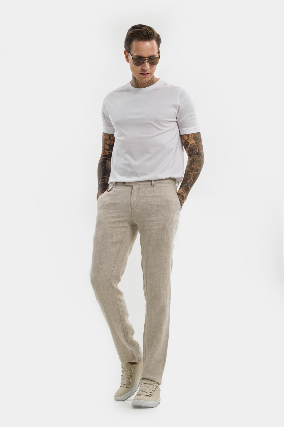Зауженные брюки «chinos»,  изо льна.  Vaismann  21508