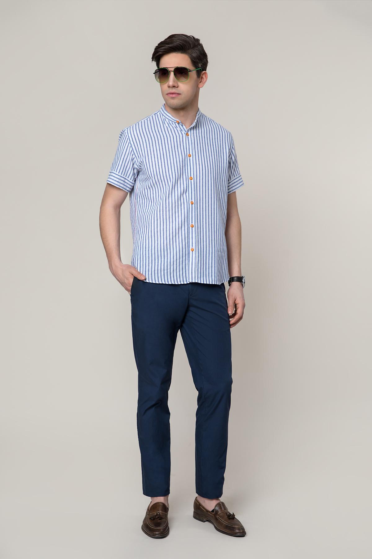 """Рубашка """"короткий рукав""""в полоску голубого цвета Vaismann 19102"""