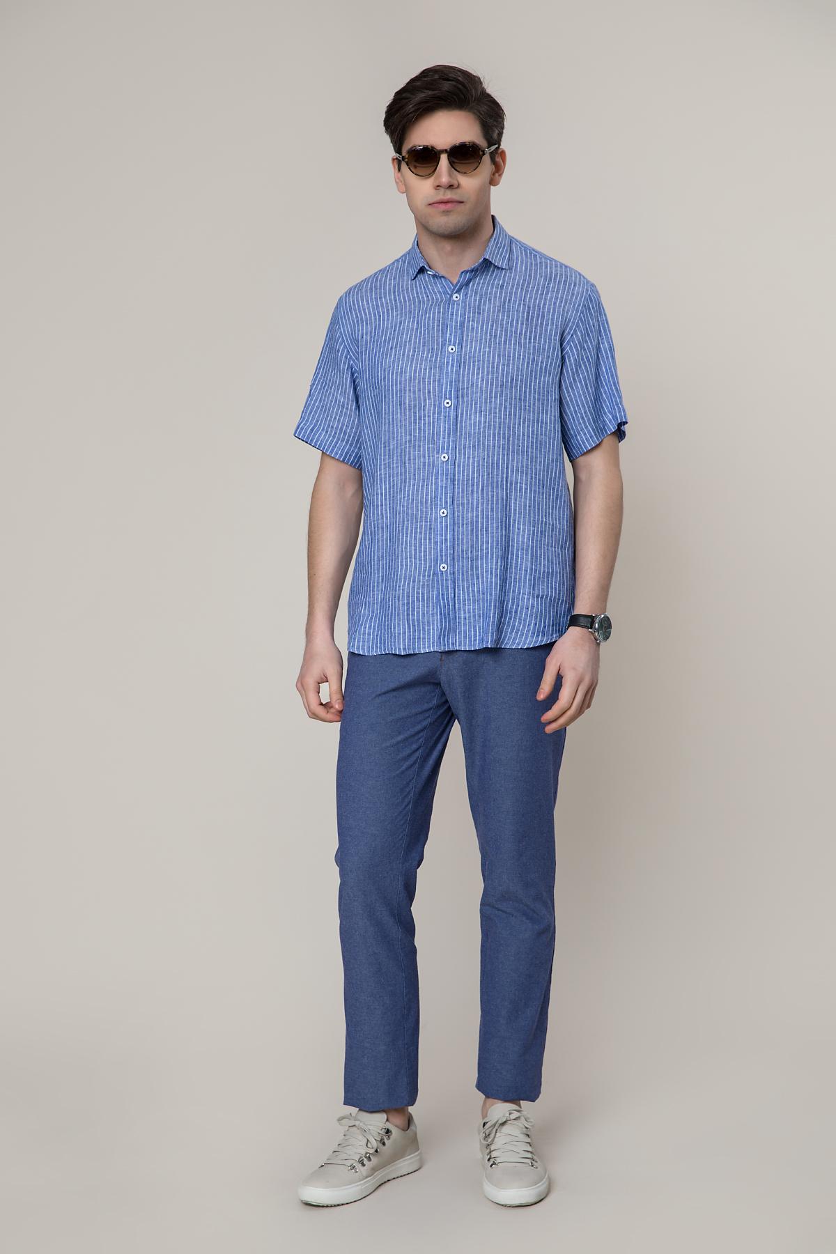 """Рубашка """"короткий рукав"""" синего цвета в белую полоску  Vaismann 19120"""