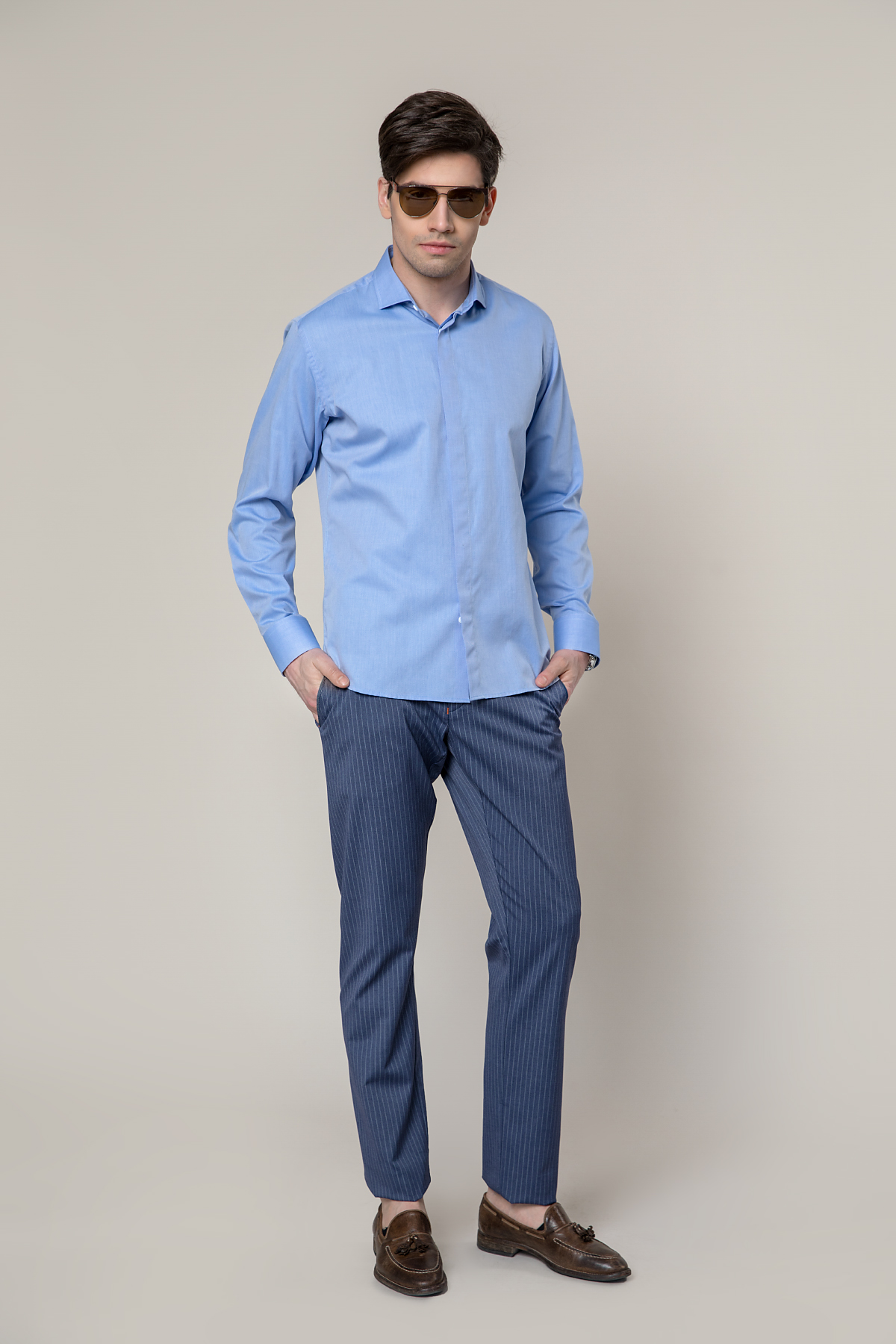 Рубашка голубого цвета Vaismann 19145
