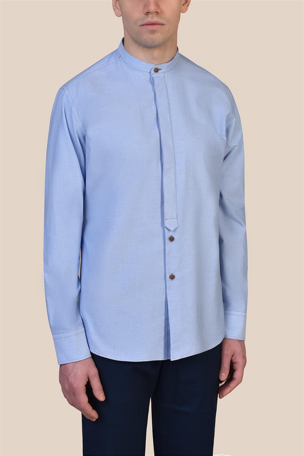 Рубашка голубого цвета в белую полоску  Vaismann 19212