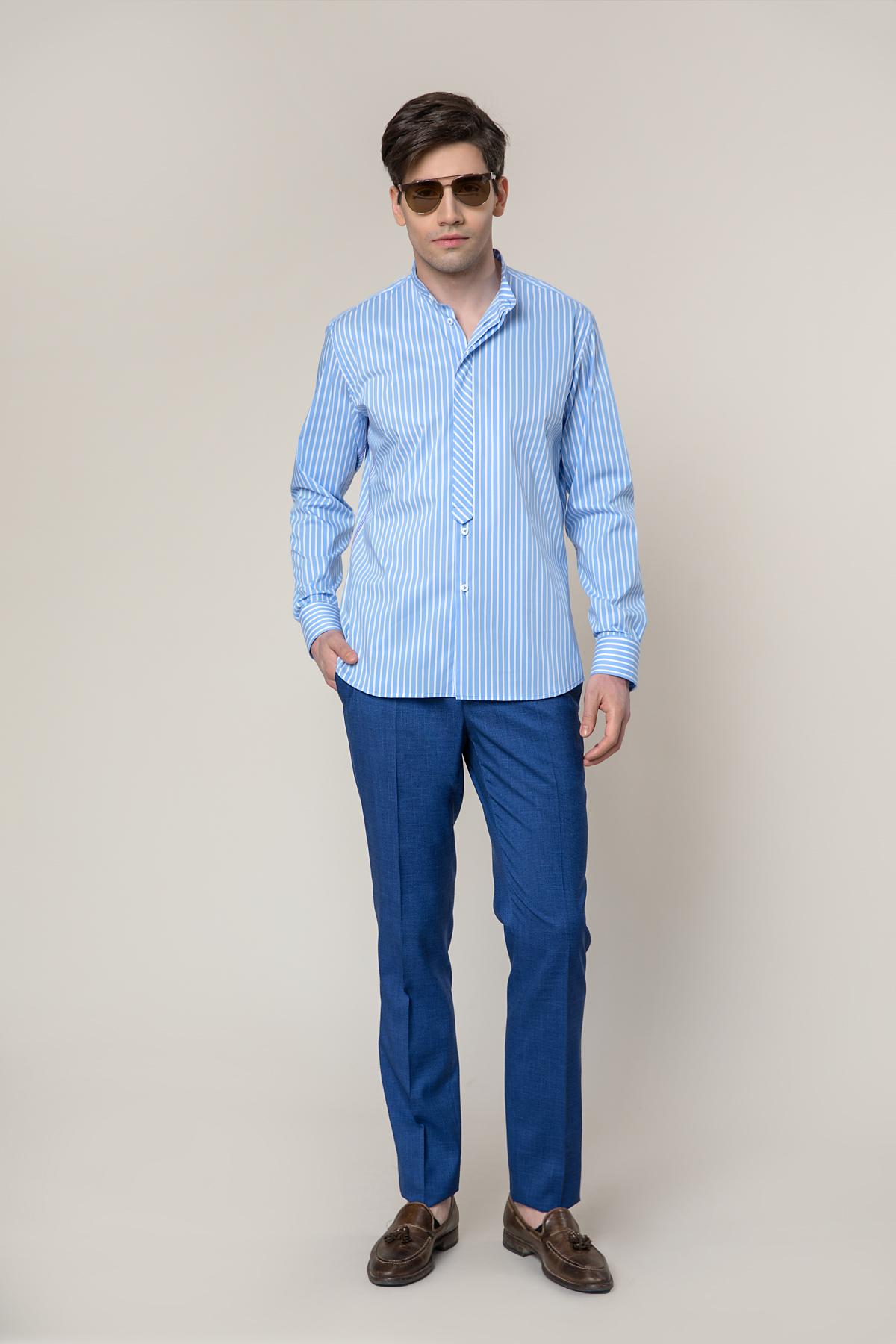 Рубашка в голубую полоску  Vaismann 19214