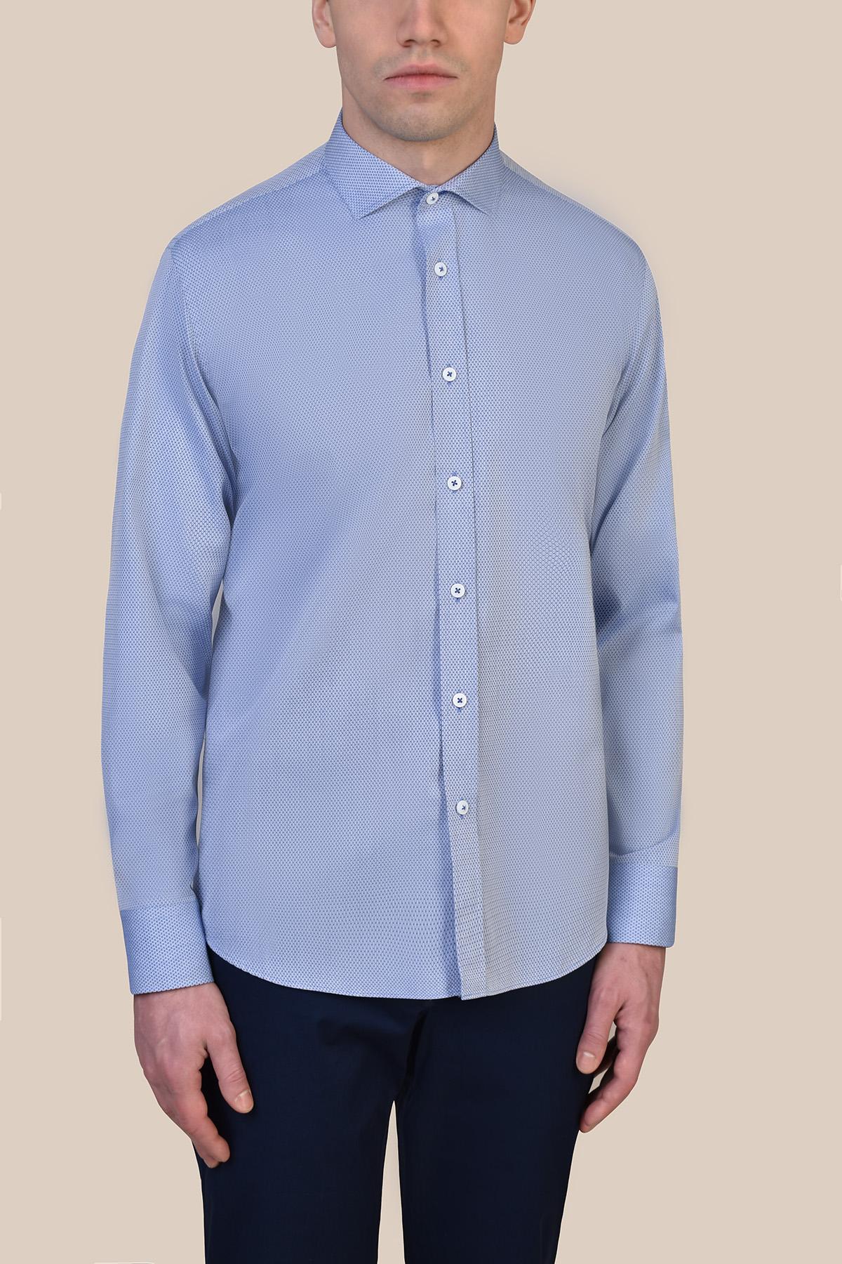 Рубашка из структурной ткани голубого цвета Vaismann 19230