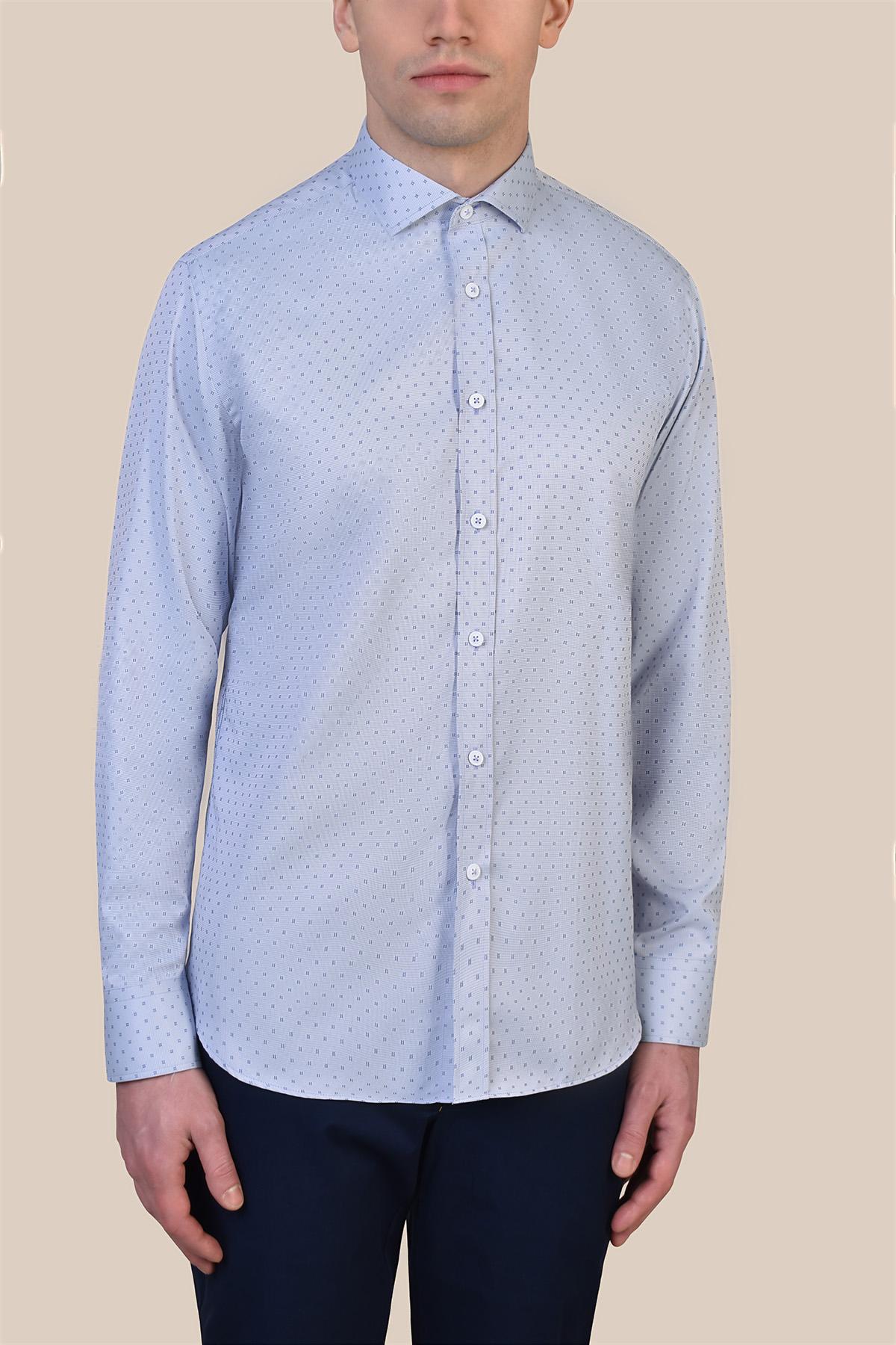 Рубашка голубого цвета в узор Vaismann 19238