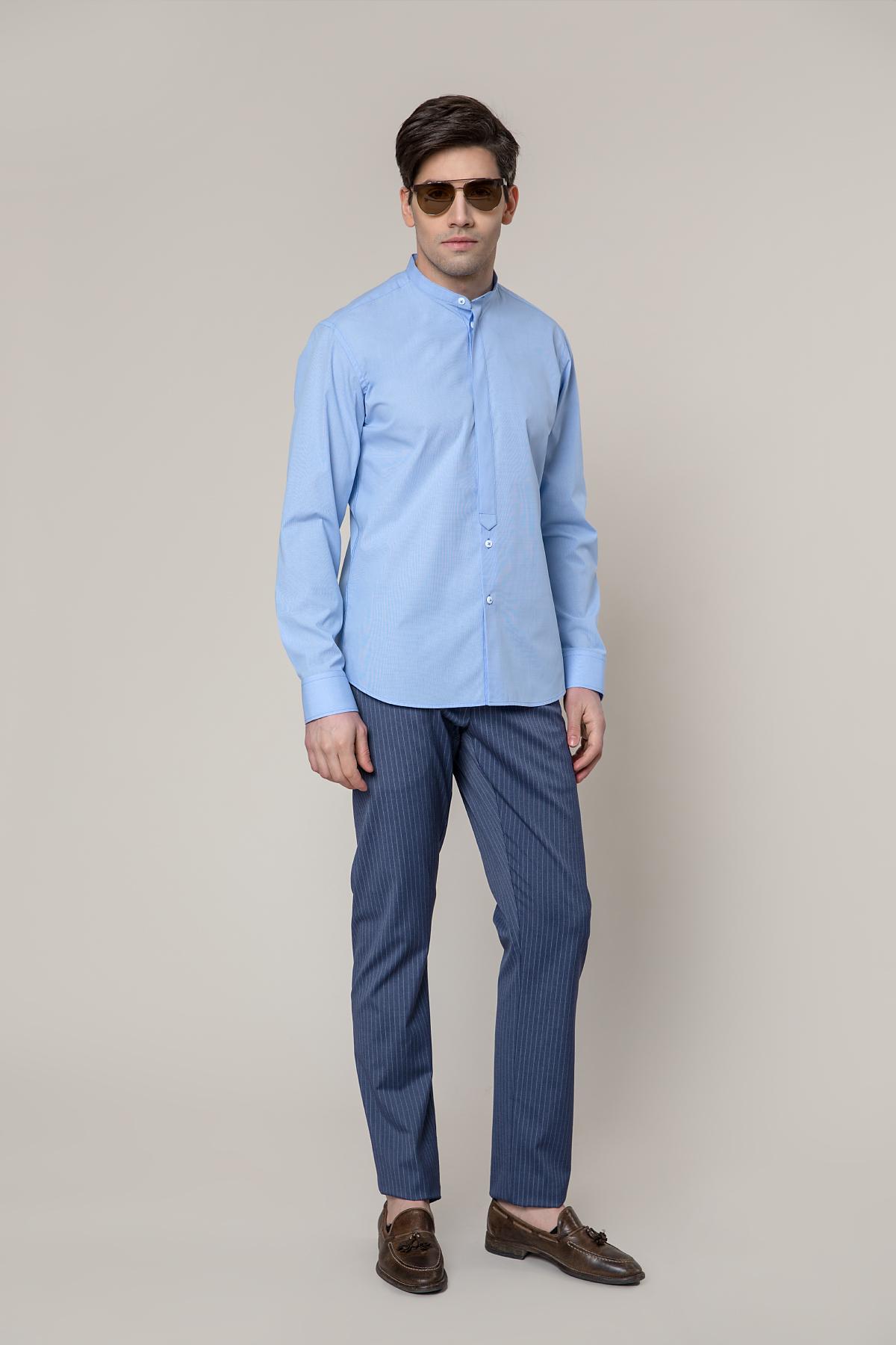 Рубашка голубого цвета в мелкую клетку Vaismann 19246
