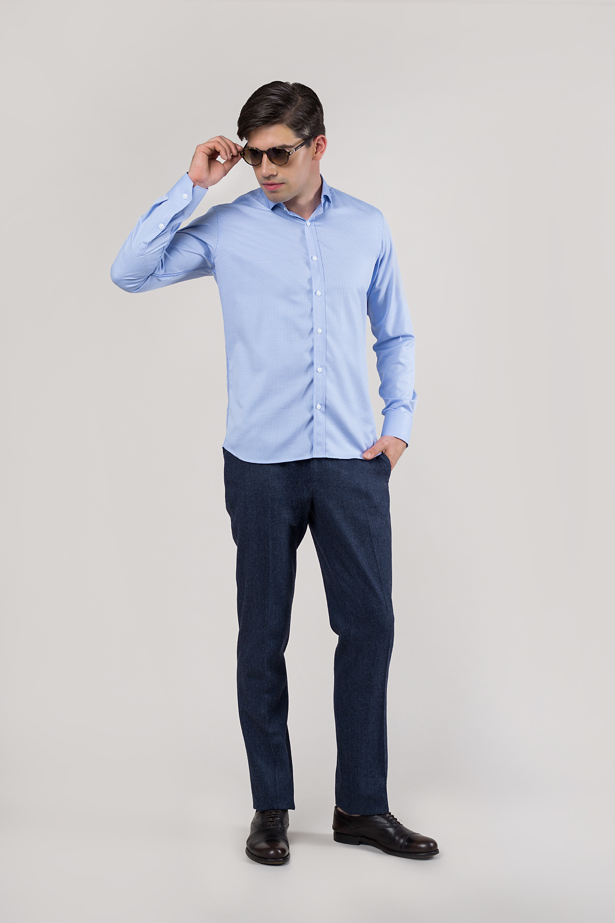 Рубашка из структурной ткани голубого цвета Vaismann 20102