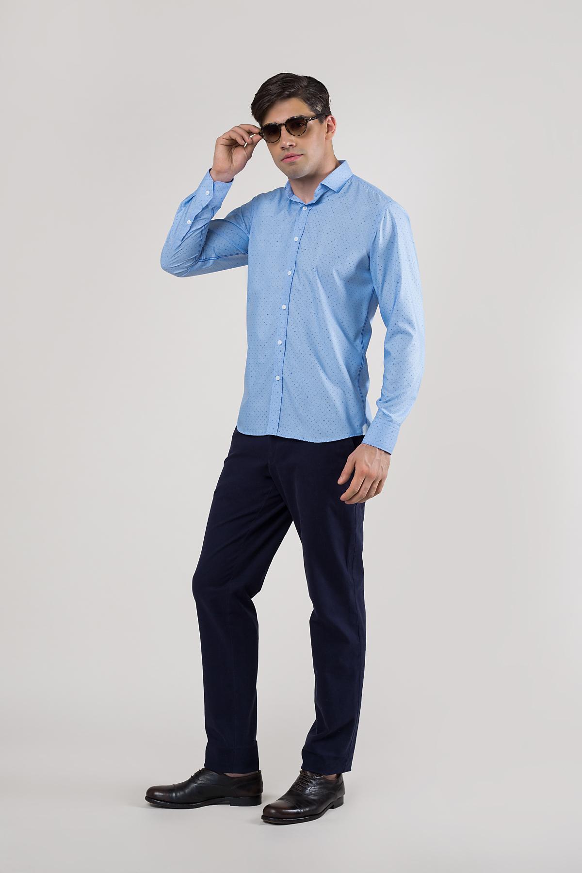 Рубашка голубого цвета в мелкий принт  Vaismann 20110