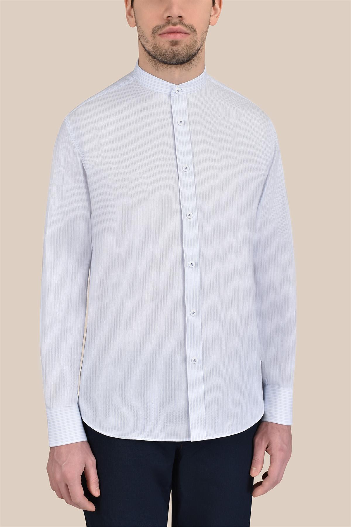 Рубашка белого цвета в мелкую полоску  Vaismann 20123