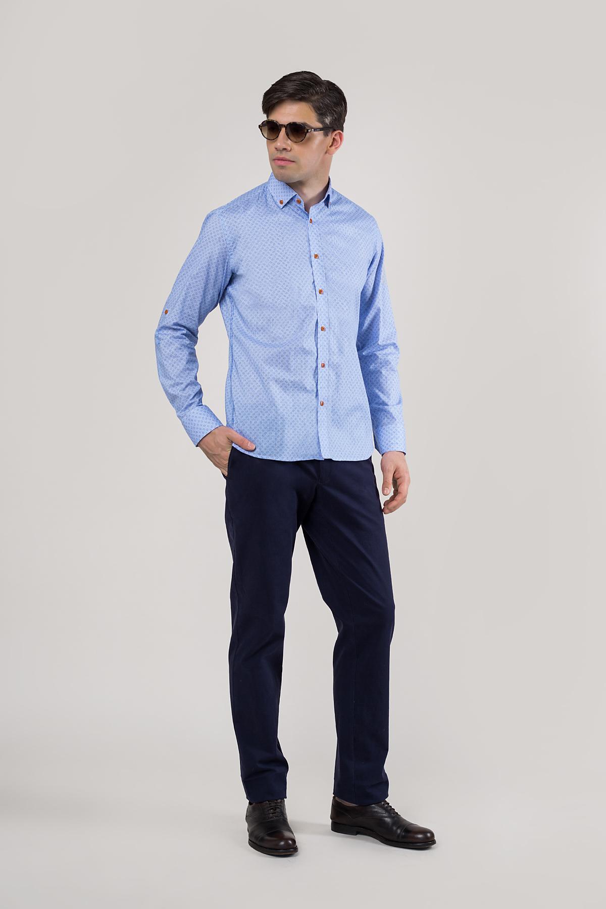 Рубашка голубого цвета в мелкий принт Vaismann 20127