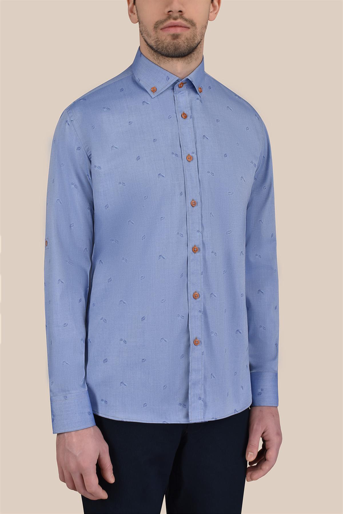 Рубашка голубого цвета в принт Vaismann 20129