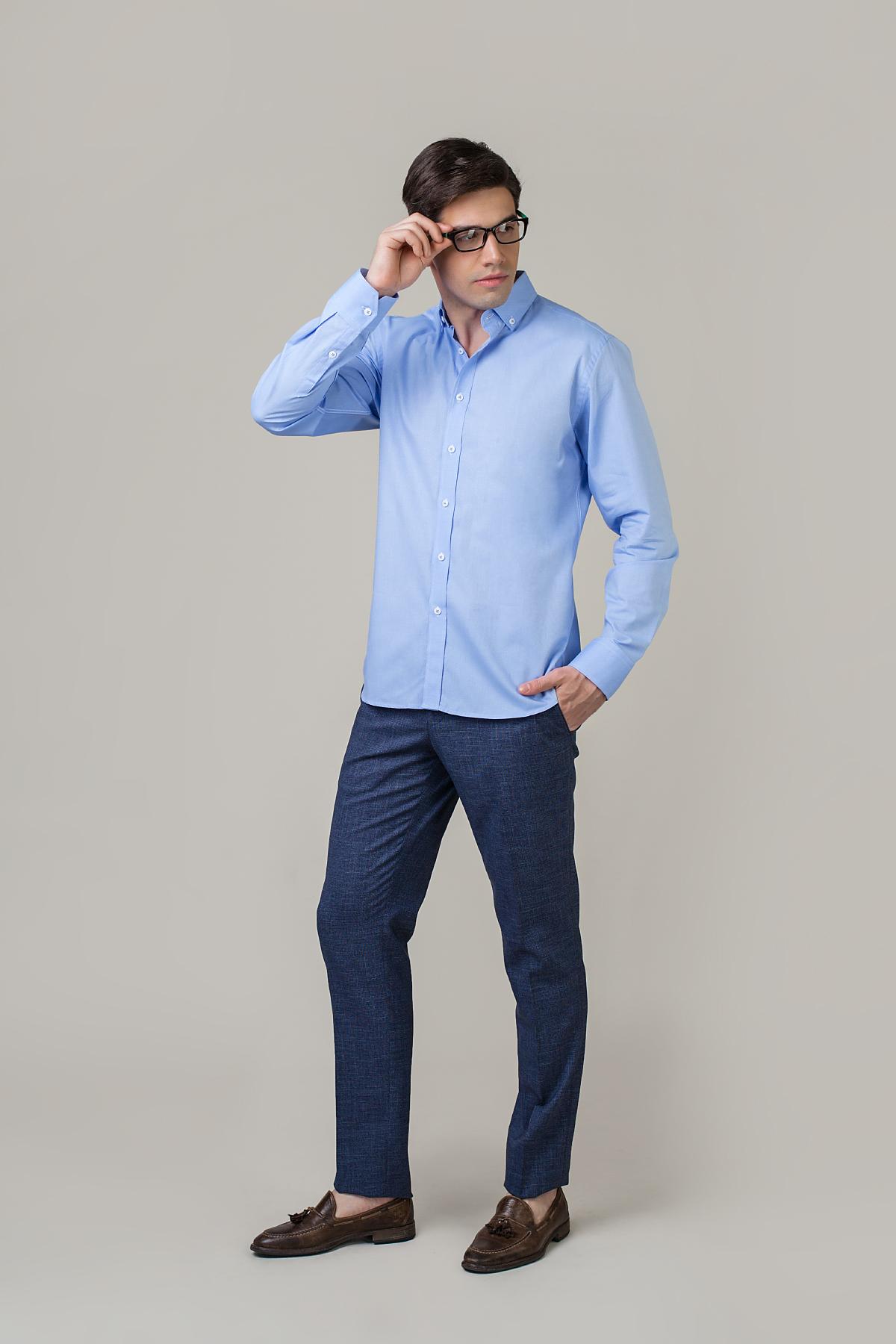 Рубашка в мелкий принт голубого цвета Vaismann 20130