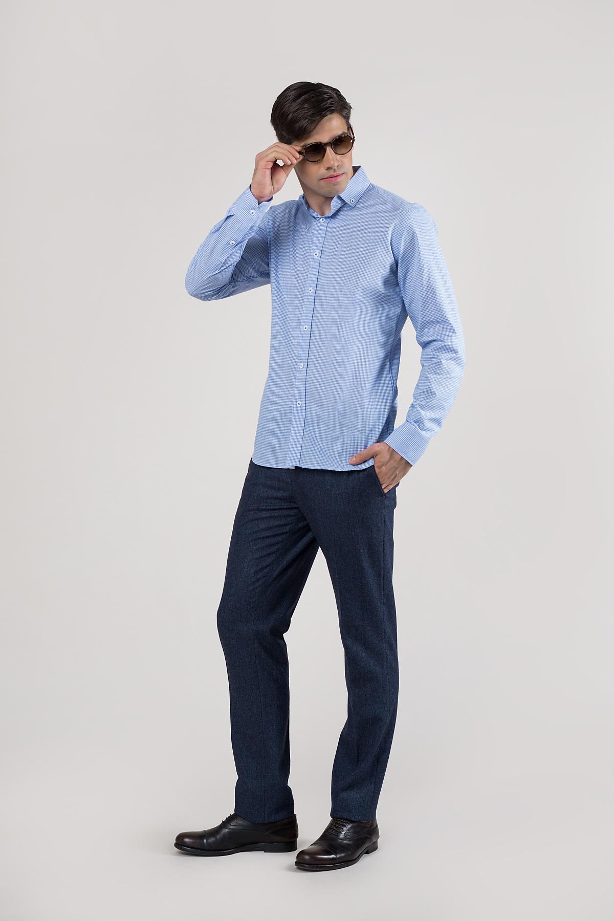 Рубашка в мелкую клетку голубого цвета Vaismann 20139