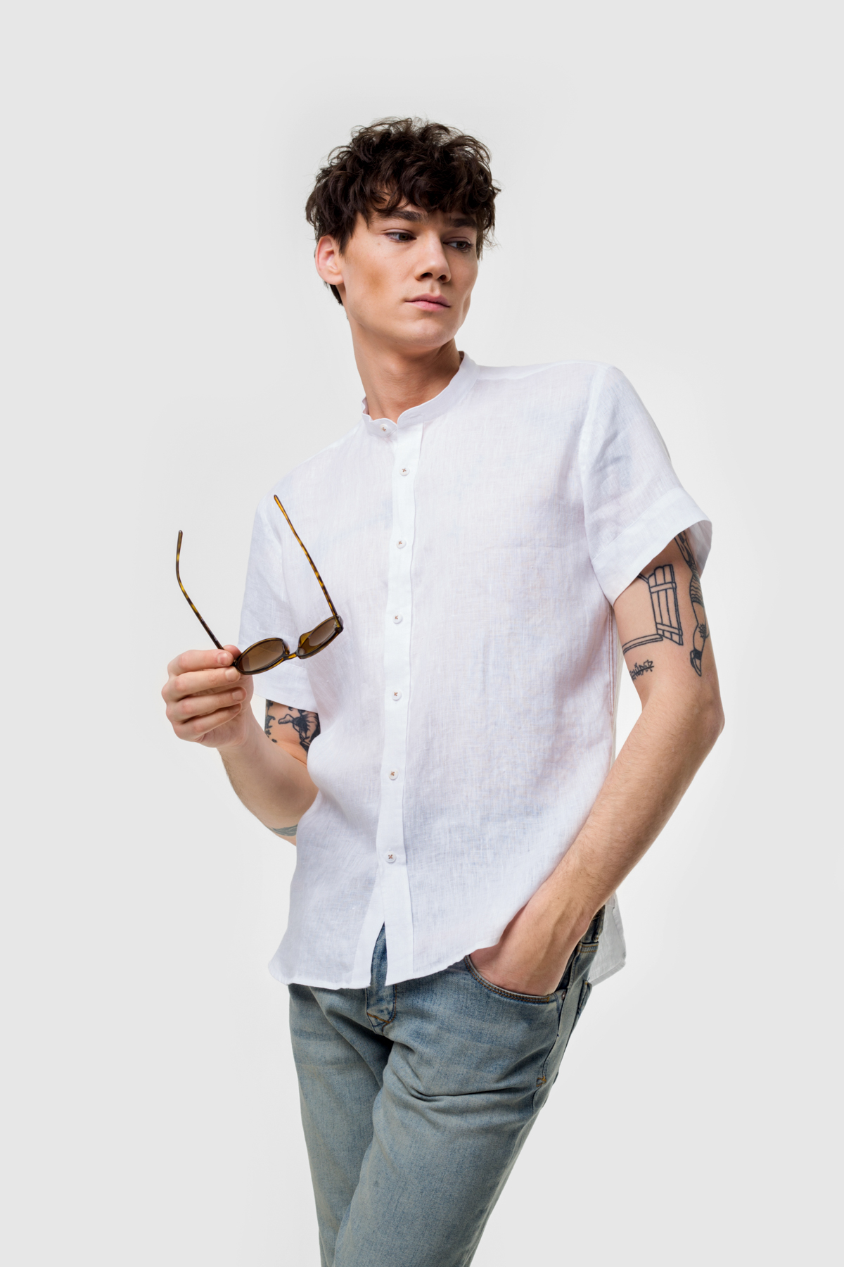Рубашка из ткани лен  Vaismann 21130