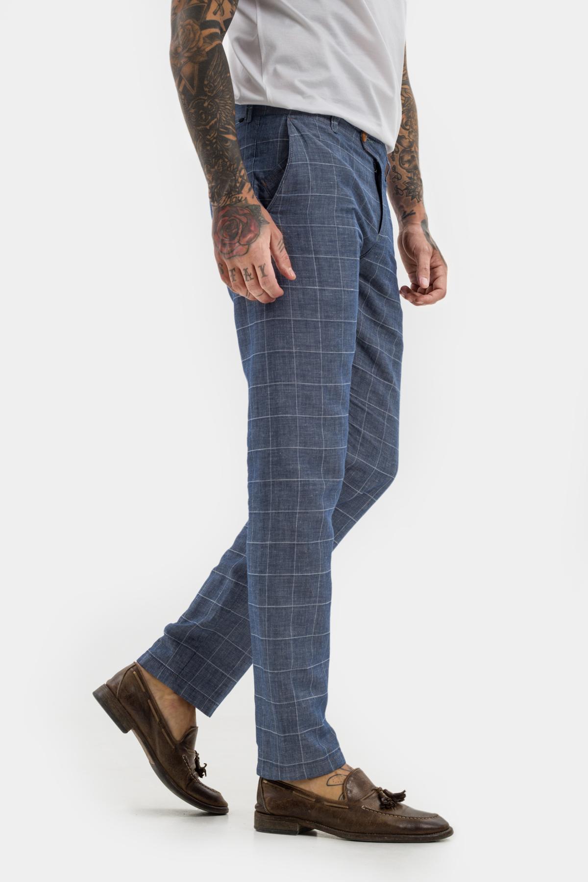 Зауженные брюки «chinos»,  из  хлопка в клетку.  Vaismann  21514