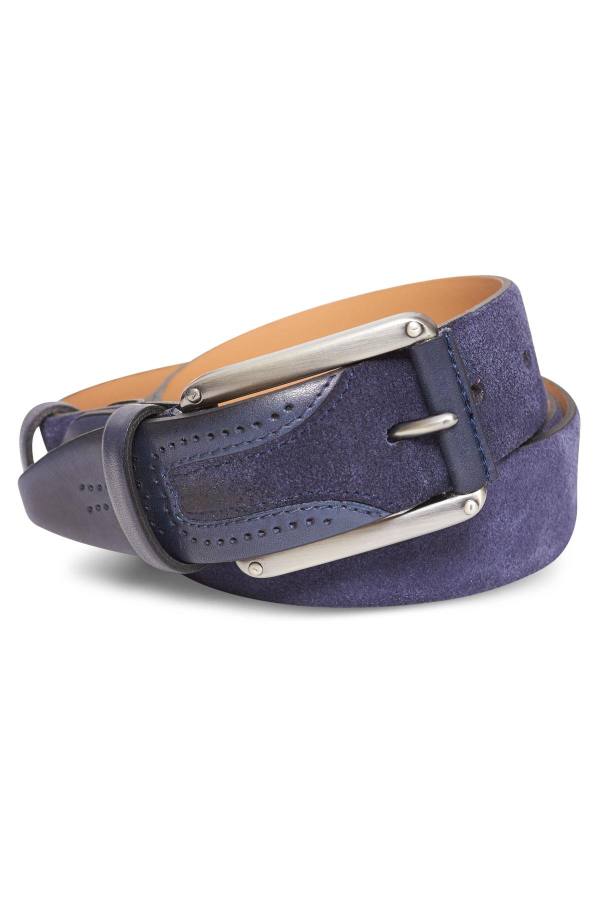 Ремень кожаный синего цвета 18-08-02