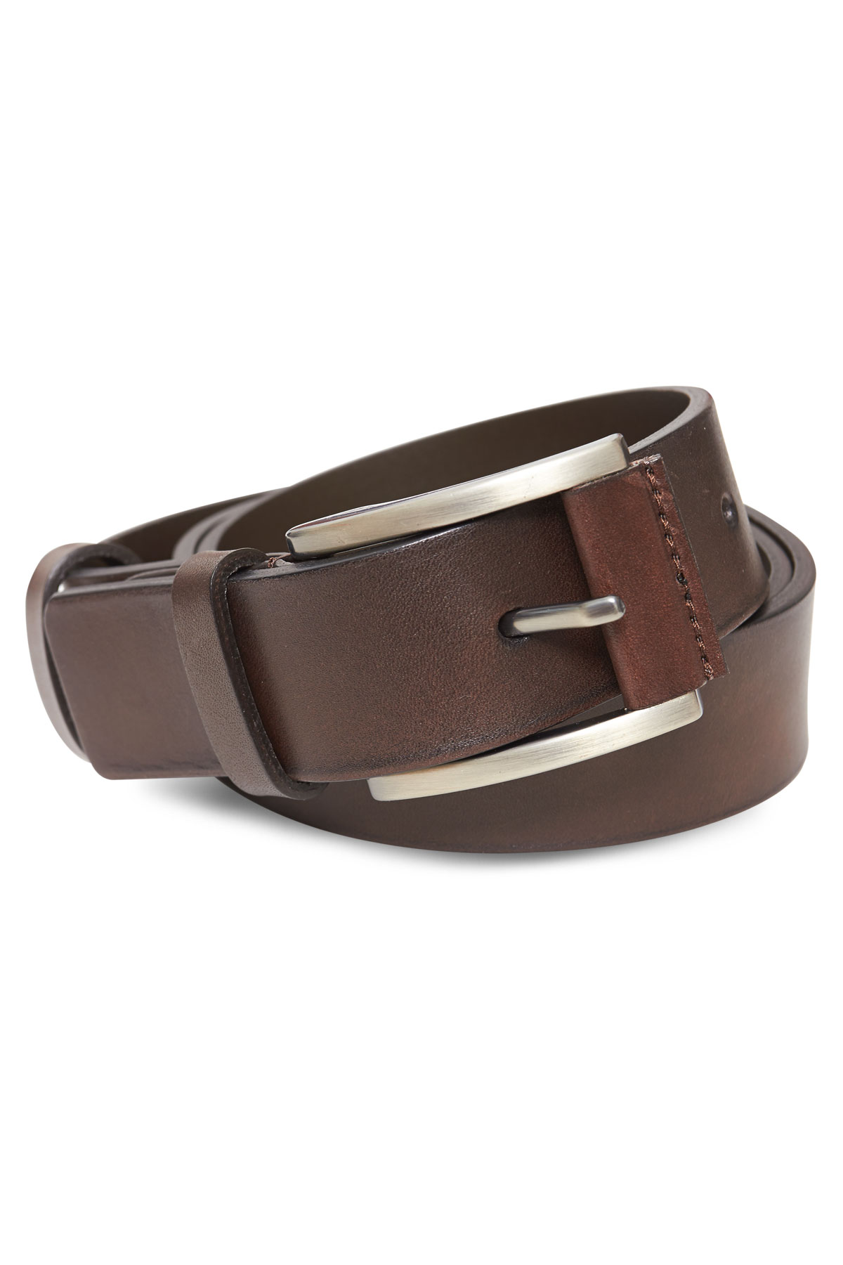 Ремень кожаный коричневого цвета 18-08-04
