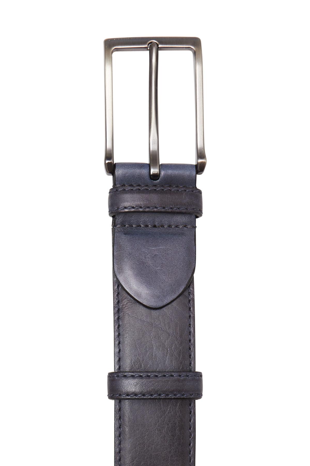 Ремень кожаный серого цвета 18-08-07