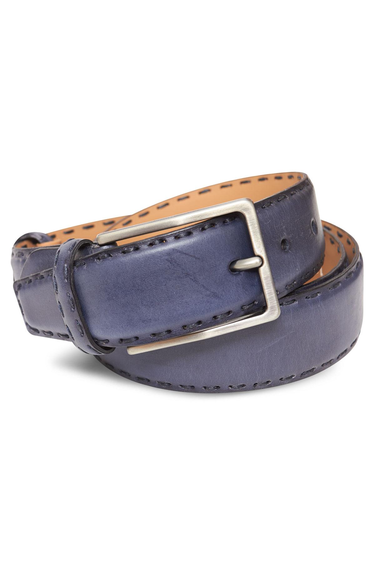 Ремень кожаный синего цвета 18-08-10