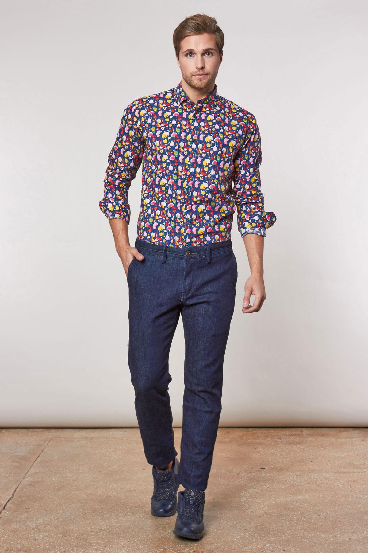 Рубашка синего цвета в узор Vaismann 180529-01