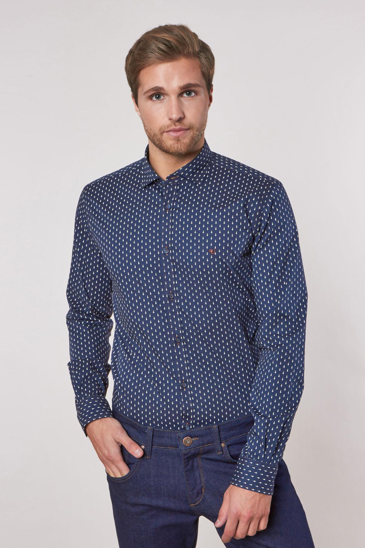 Рубашка синего цвета в узор Vaismann 180529-02