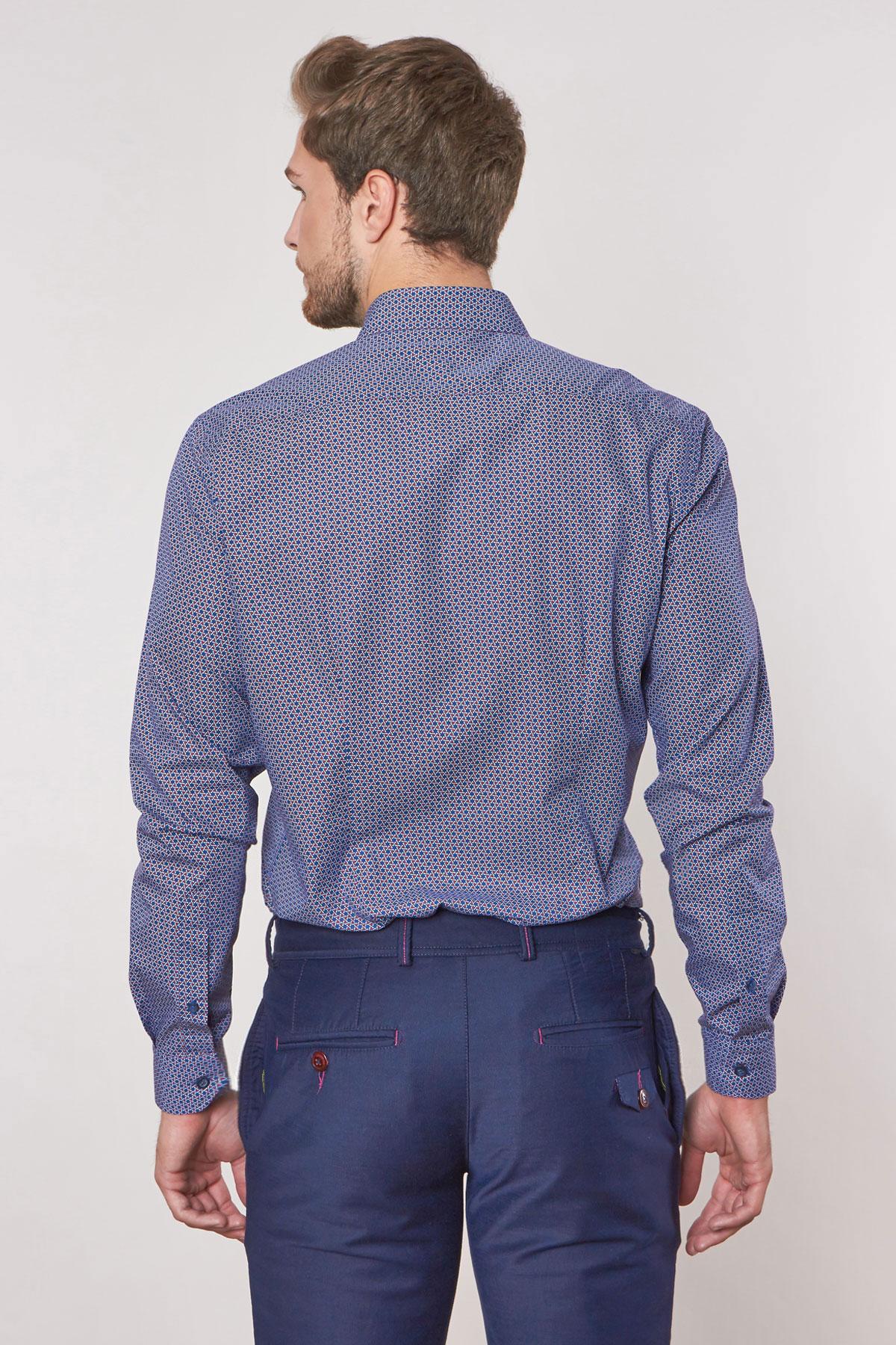 Рубашка синего цвета в узор Vaismann 180626-02