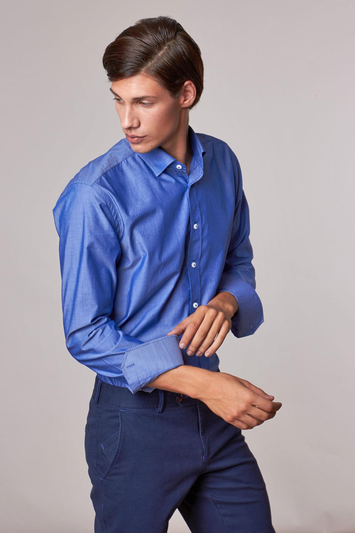Рубашка синего цвета Vaismann 18204