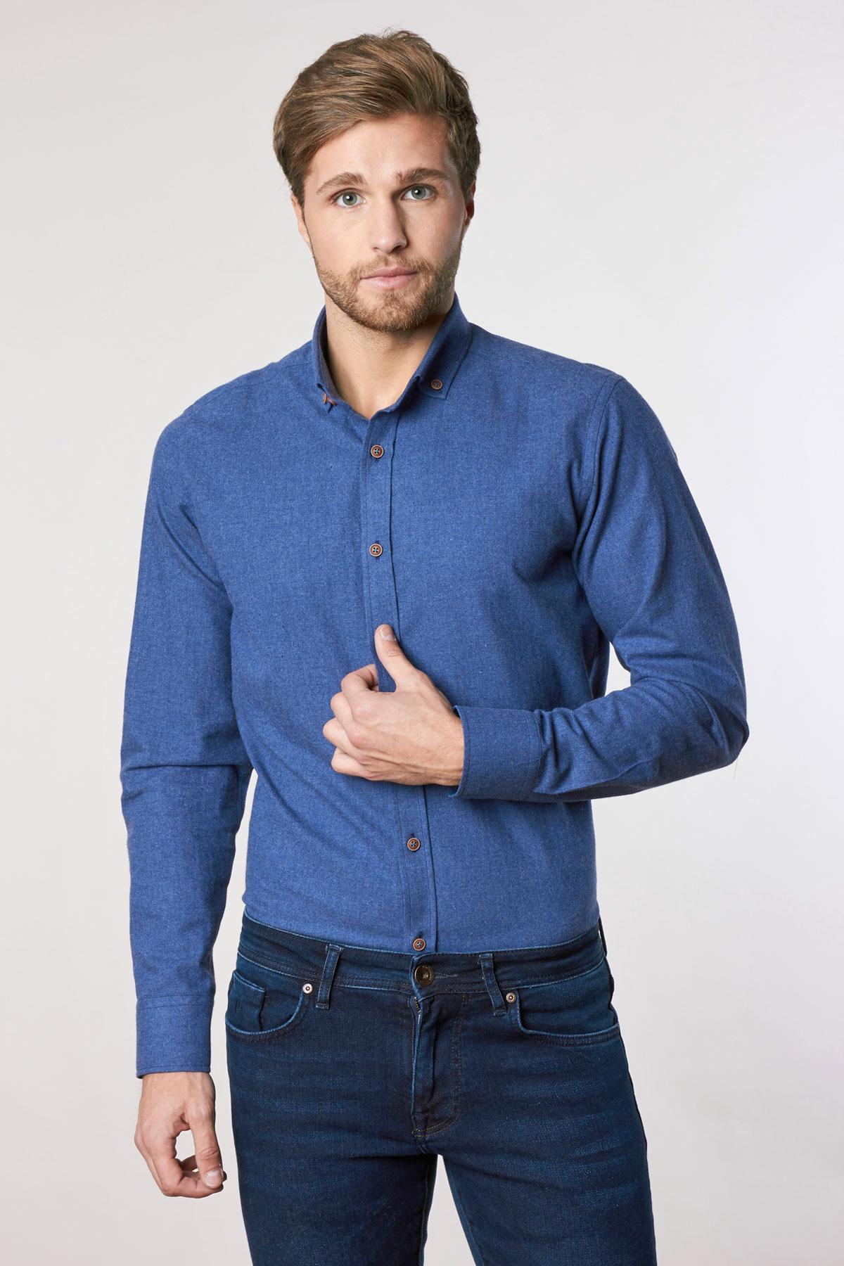 Рубашка синего цвета Vaismann 18215