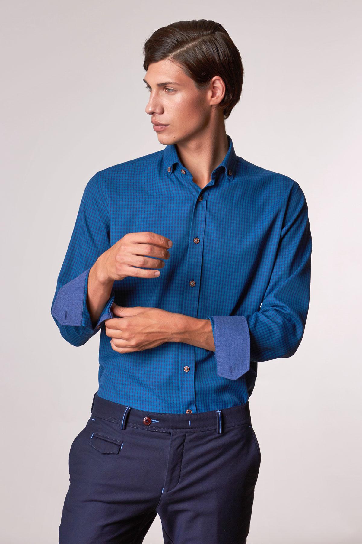 Рубашка синего цвета в узор Vaismann 18216