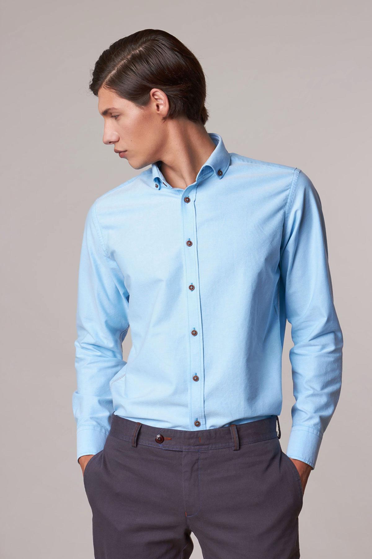 Рубашка голубого цвета Vaismann 18221