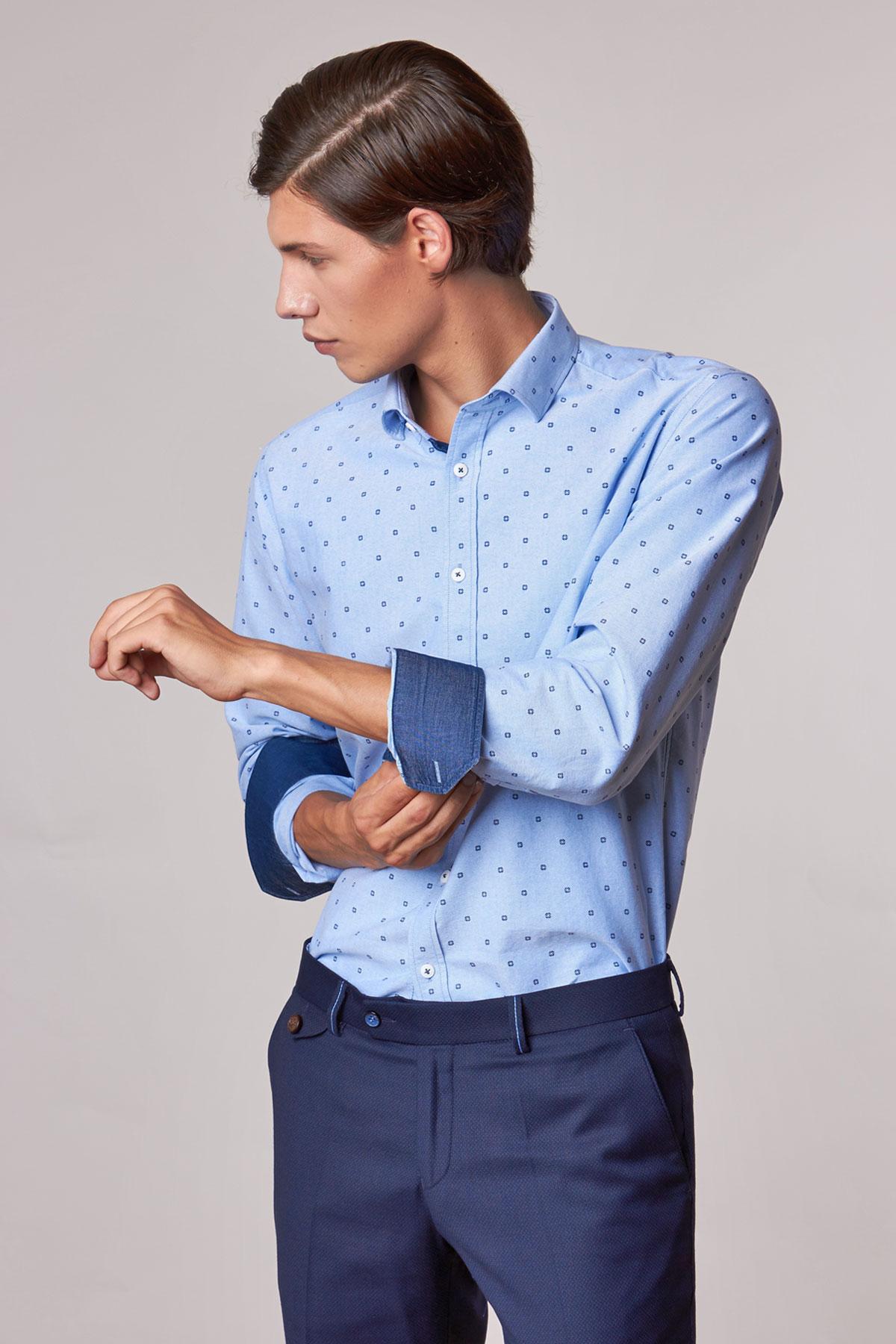 Рубашка синего цвета Vaismann 18223