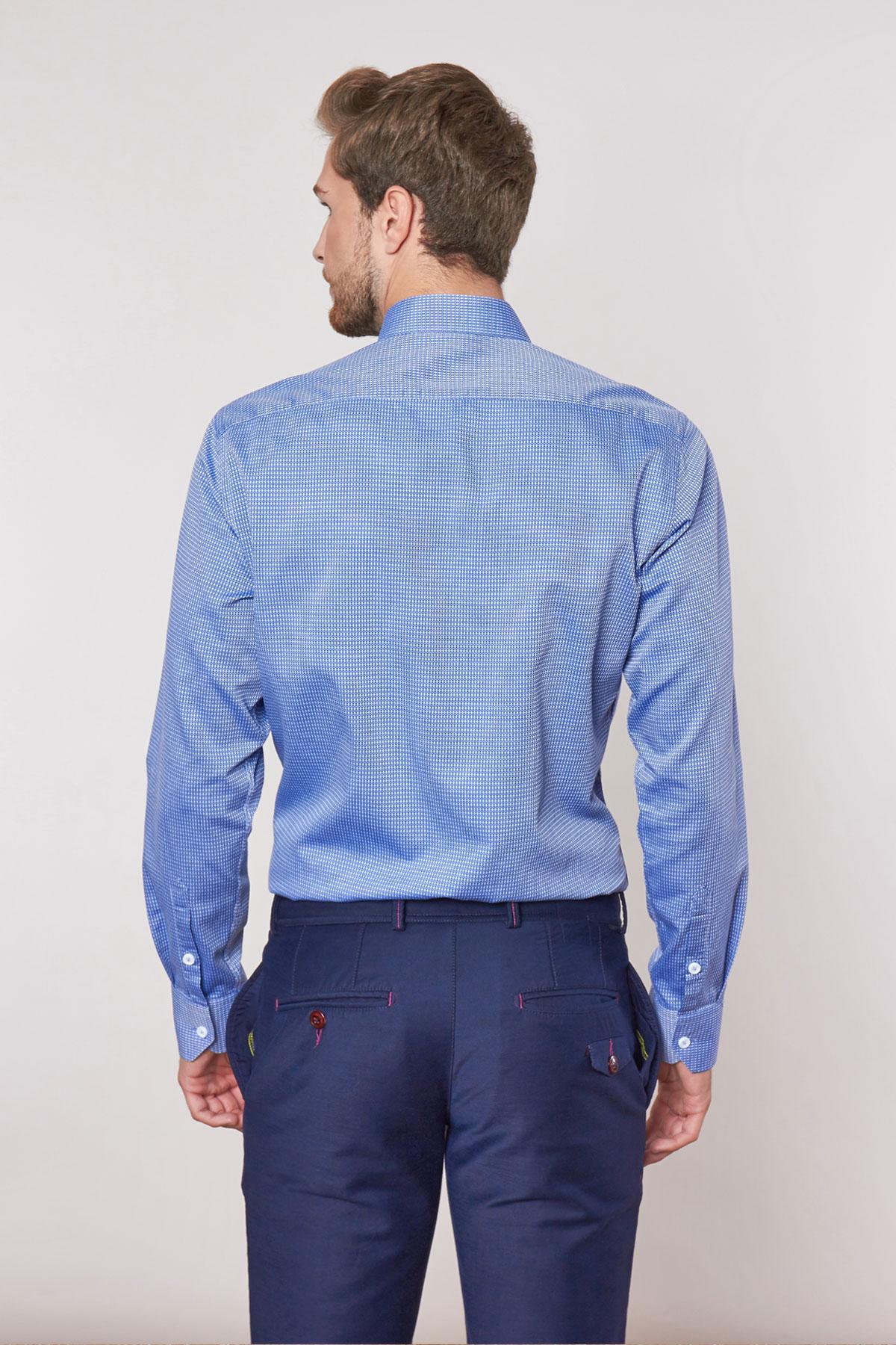 Рубашка синего цвета в узор Vaismann 18228
