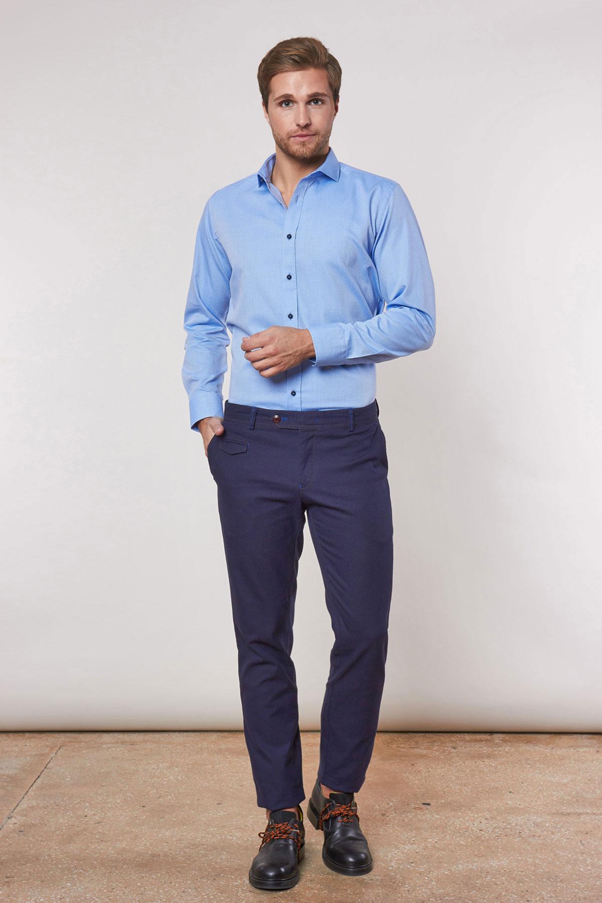 Рубашка голубого цвета в узор Vaismann 18229