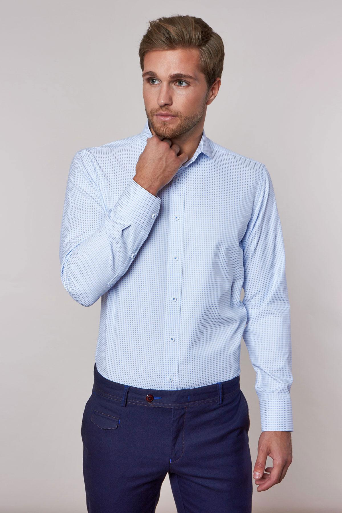 Рубашка белого цвета в узор Vaismann 18230
