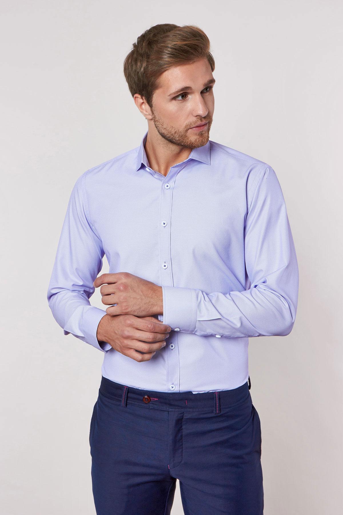 Рубашка фиолетового цвета в узор 18232
