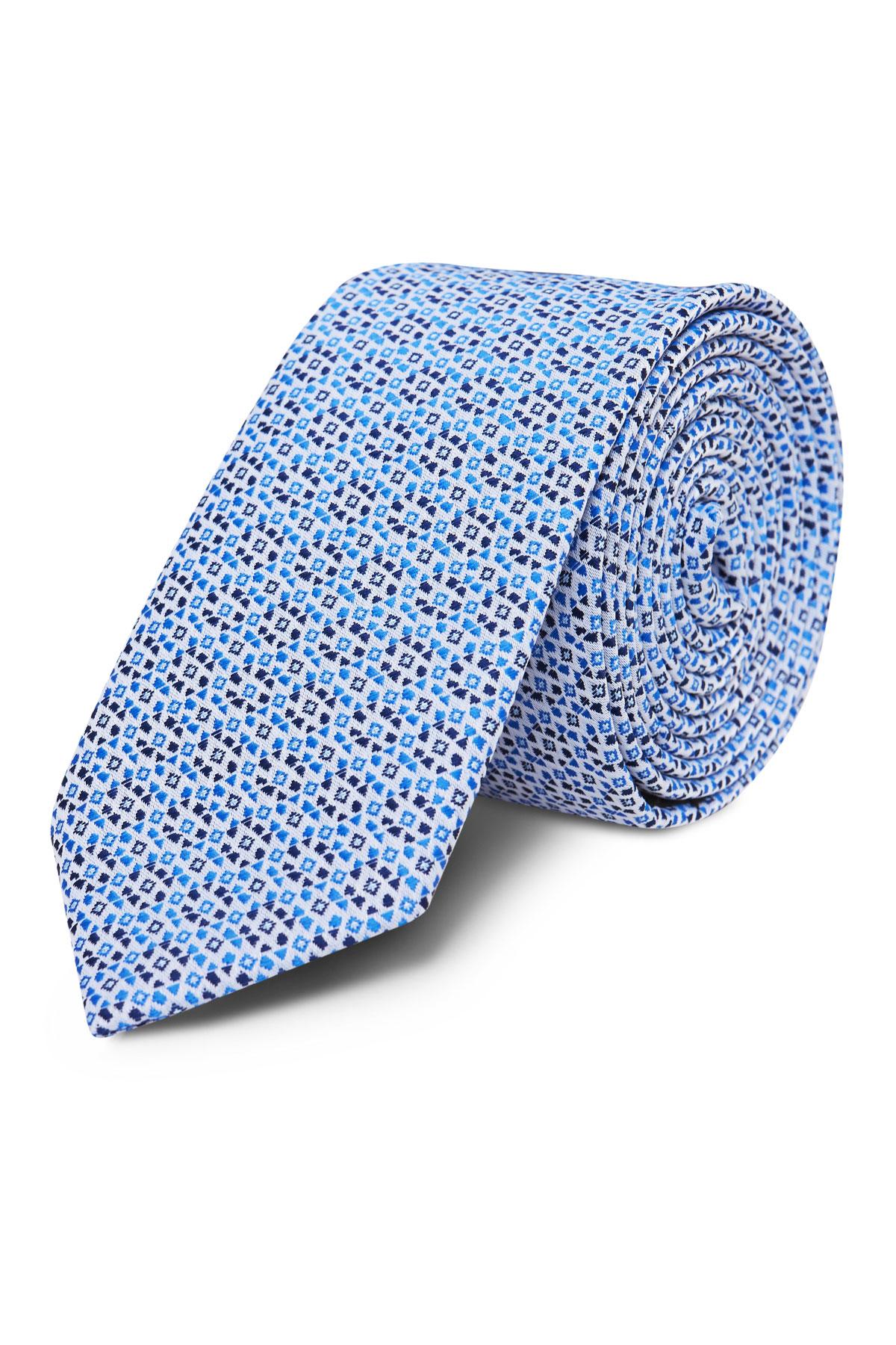 Галстук синий с принтом 18-03-34