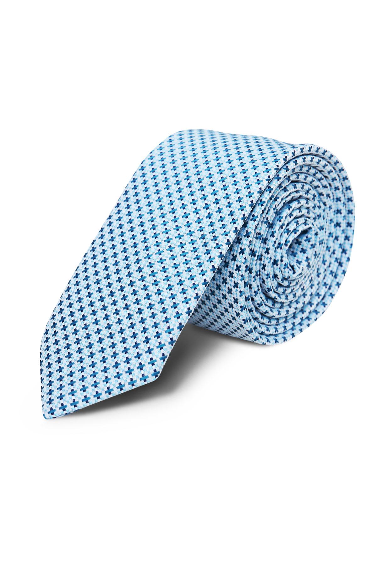Галстук голубой текстурный 18-03-36