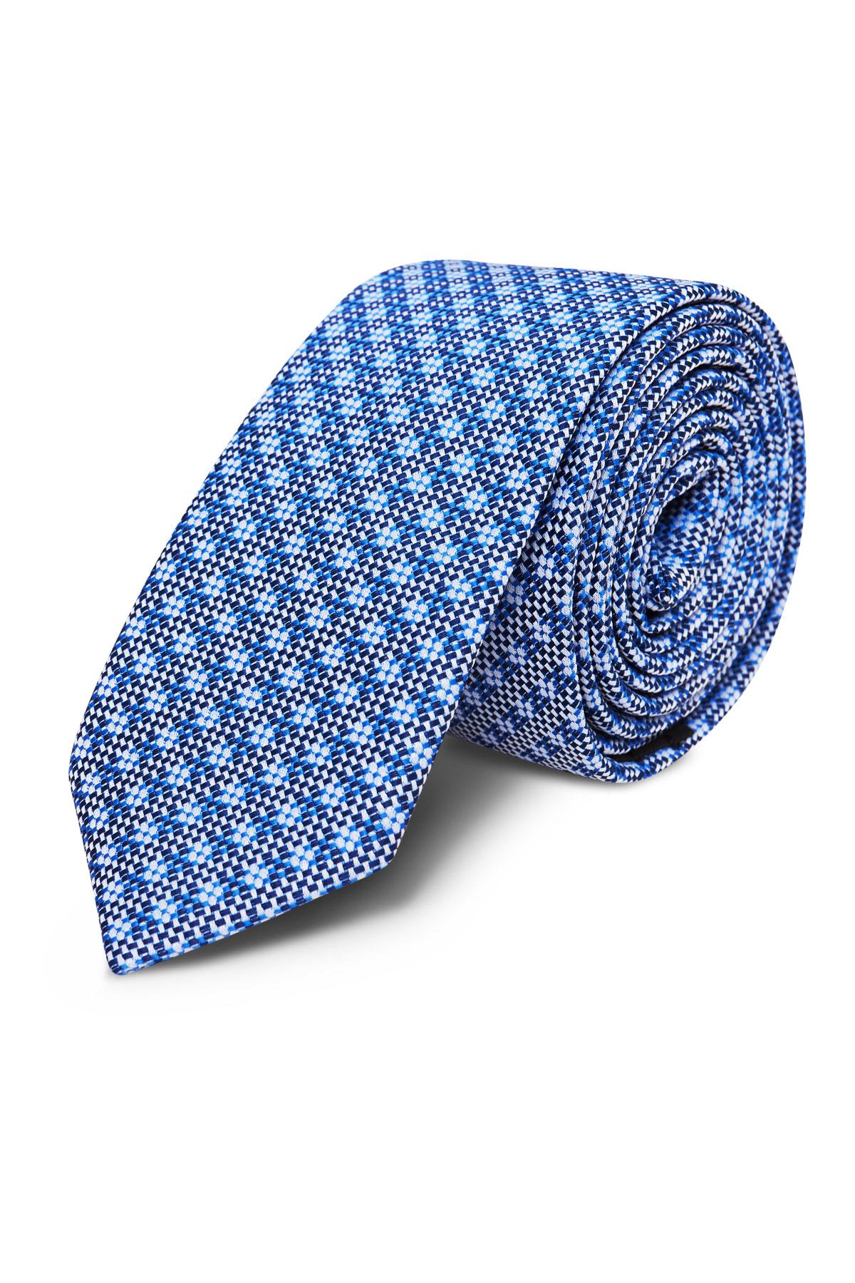 Галстук синий с принтом 18-03-37