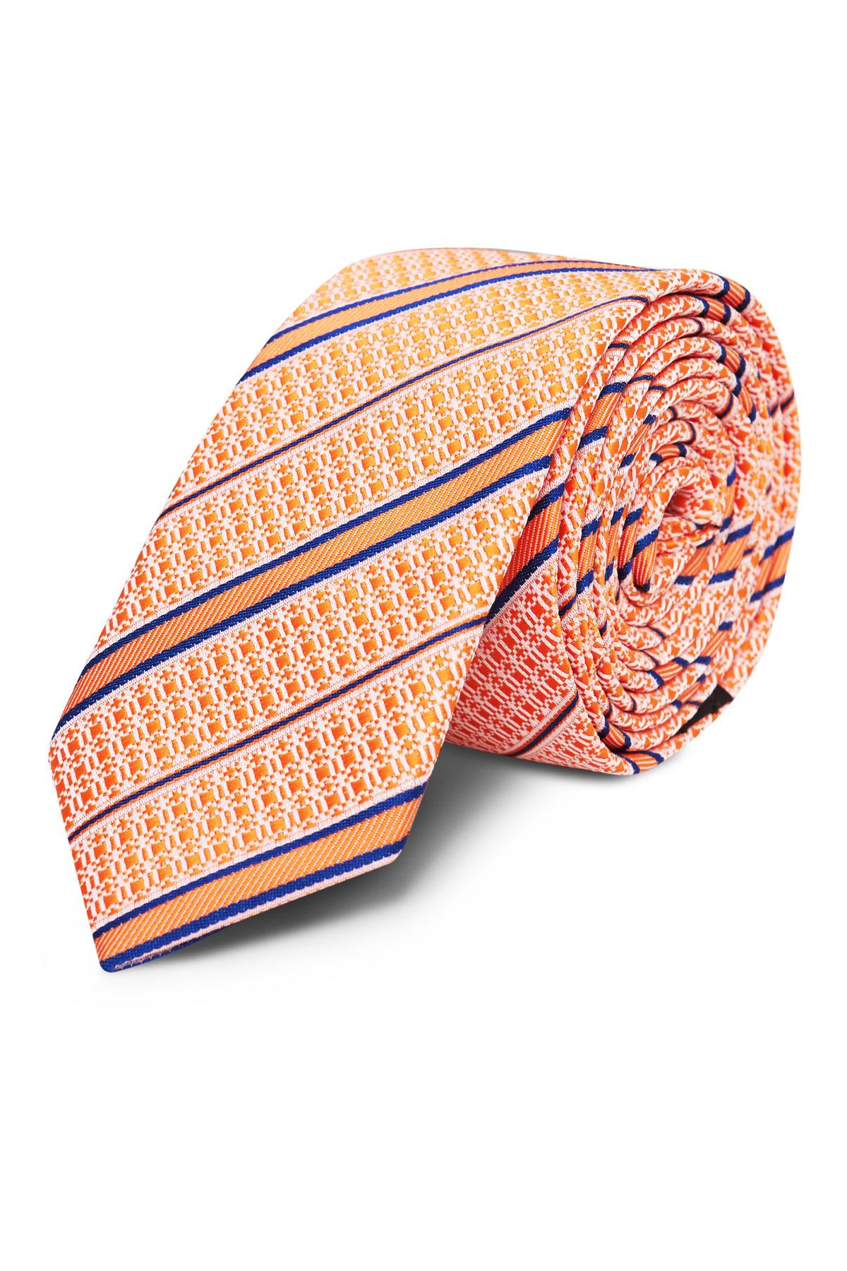 Галстук оранжевый в полоску 18-03-40