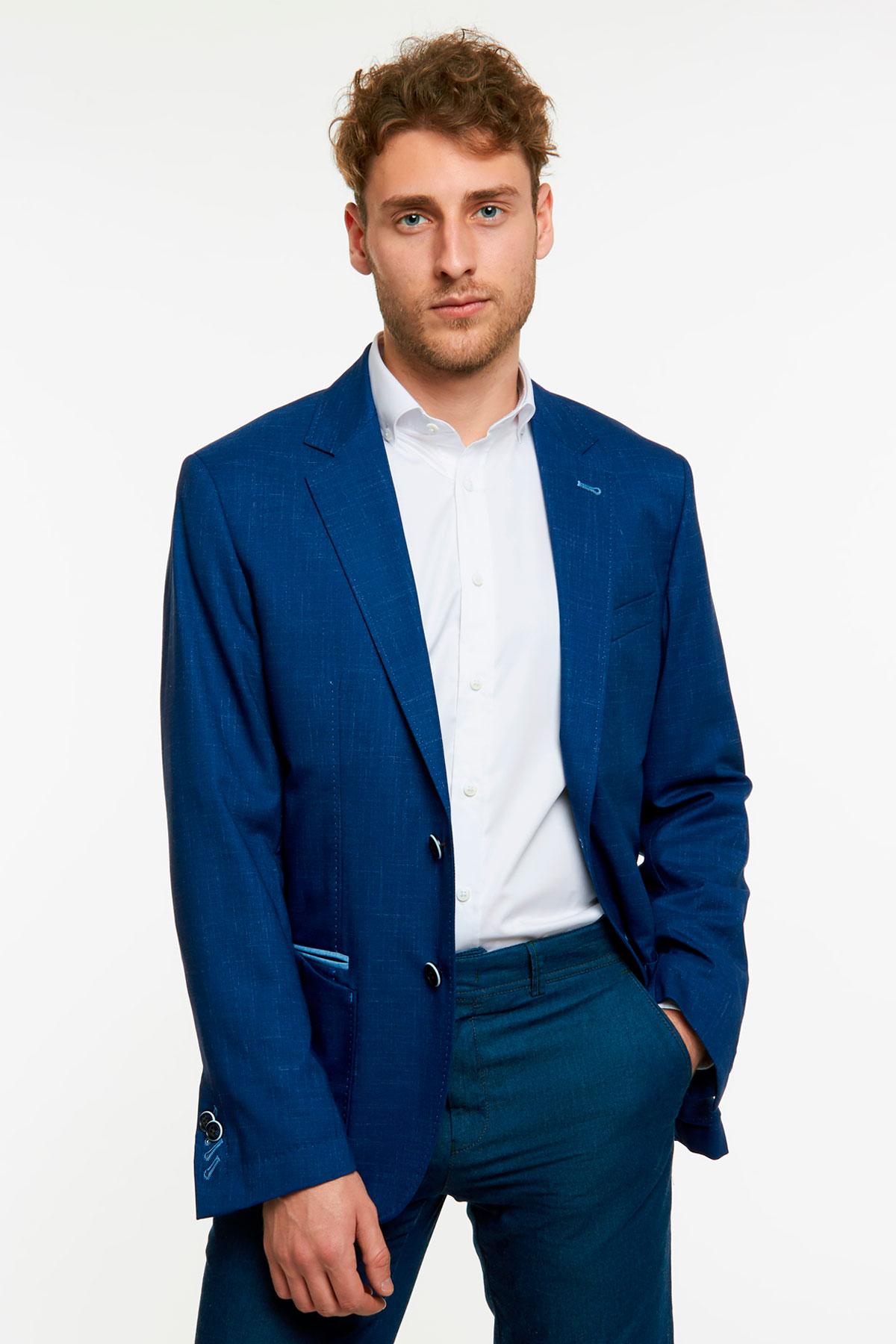 Пиджак  структурный синего цвета 1801-19 York