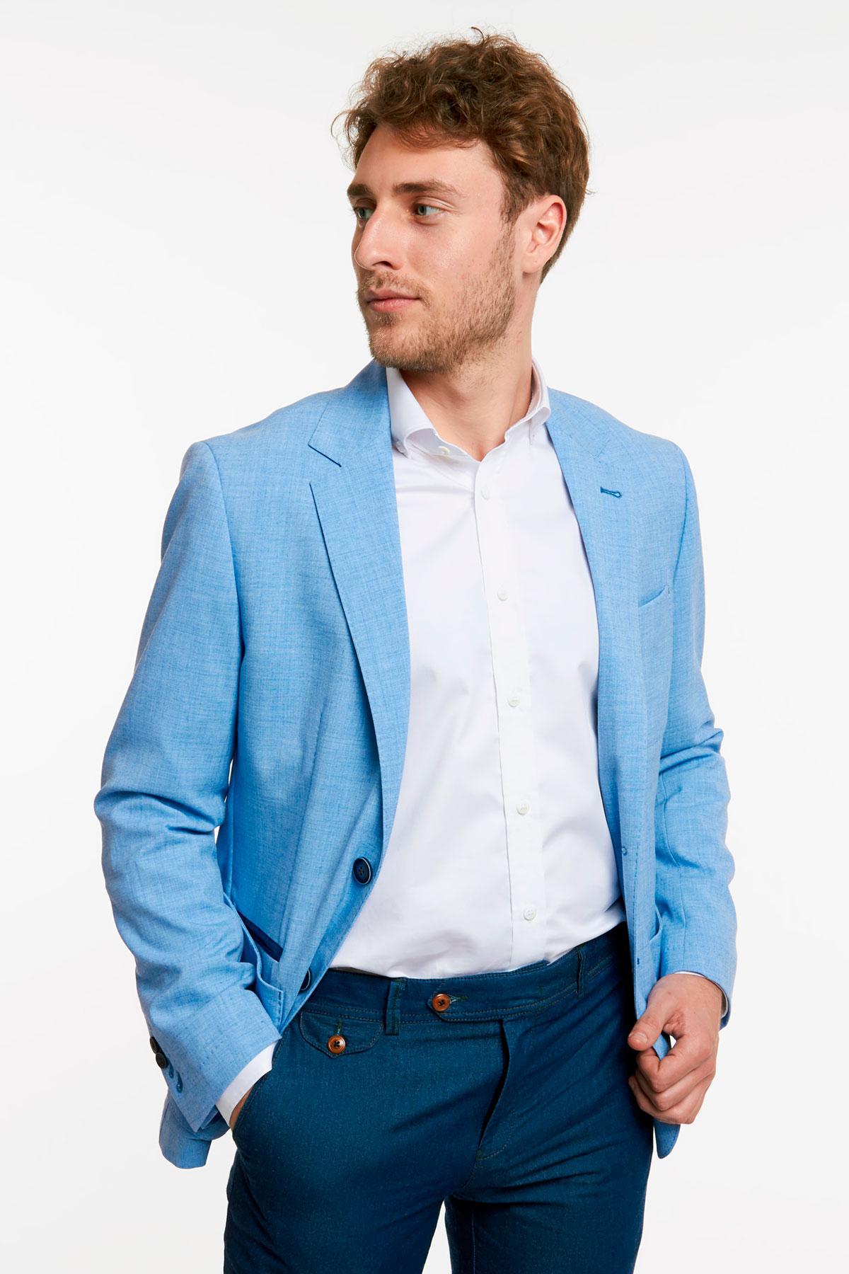 Пиджак структурный голубого цвета 1802-17 York