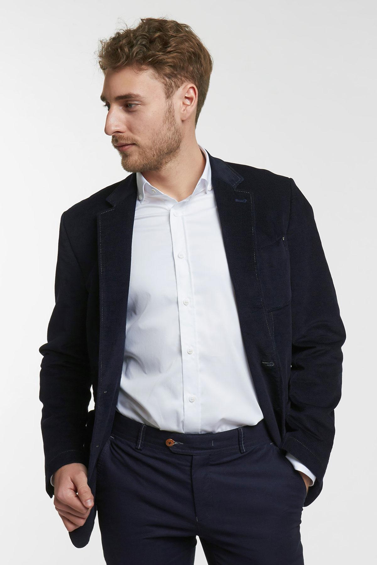 Пиджак структурный синего цвета 1858-19 York
